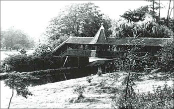 Old photo of the Swiss Bridge in Bute Park