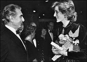 Photo of Princess Diana meeting Sir Geraint Evans