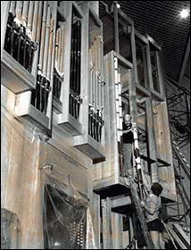 Photo of St David's Hall organ under construction