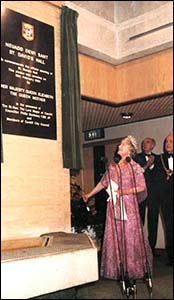Photo of Queen Mother opening St David's Hall, Cardiff