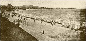 Photo of bathing vans on Colwyn Bay beach
