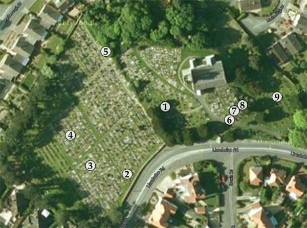 Map of interesting graves at Llandrillo-yn-Rhos