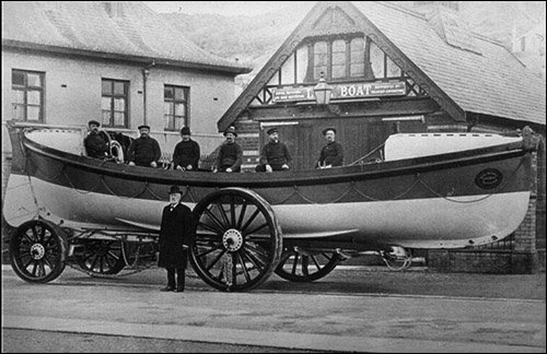 Photo of old Aberystwyth lifeboat station and lifeboat