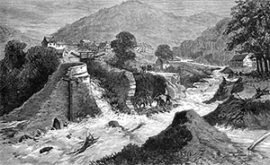 Drawing of Cwmcarn after dam burst