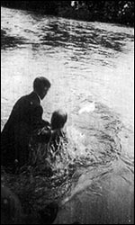 Photo of river baptism at Risca