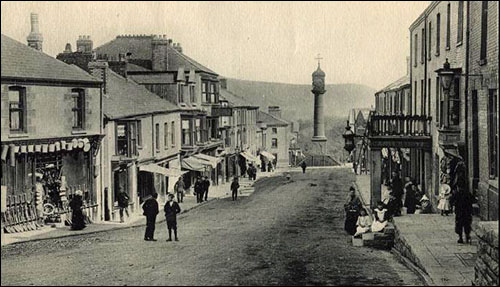Photo of Tredegar town clock and Castle Street c.1900