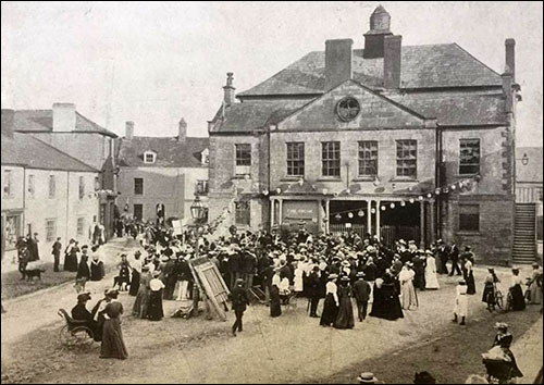 Old photo of Usk Town Hall