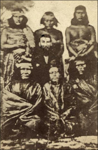 Photo of Lewis Jones with Patagonian chiefs