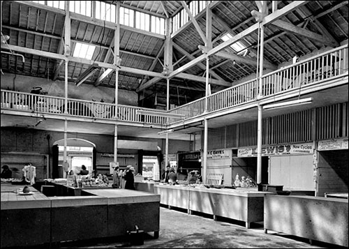 Old photo of Caernarfon market hall interior