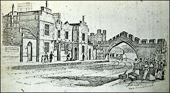 Engraving of Conwy station and railway arch