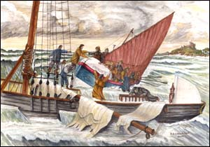 Painting of Owen Morris crew rescue