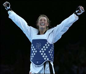 Photo of Jade Jones after winning 2012 Olympics gold medal