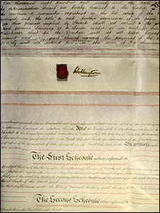 Photo of document with Wellington signature