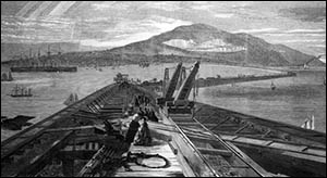 Drawing of Holyhead Breakwater under construction
