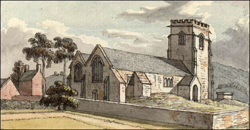 Drawing of Hope church in 18th century