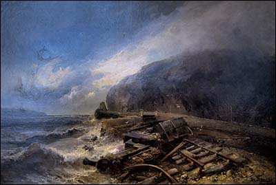 Painting of Penmaenbach train accident 1899