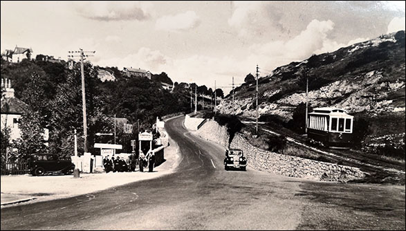 Old photo of tramway at Penrhyn Hill
