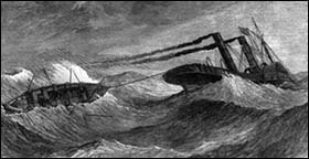 Drawing of ship and lifeboat