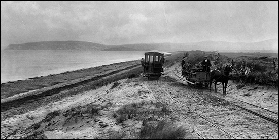Photo of tramway beside Traeth Crugan
